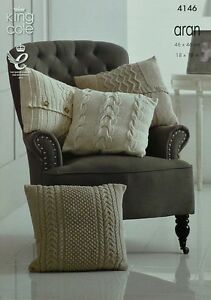 KNITTING PATTERN 4 Styles of Textured & Cable Cushions Aran King Cole 4146
