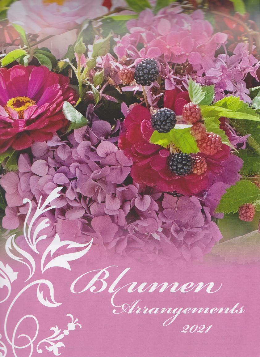 """1 Schöner Wandkalender 2021 Motive 12 Fotos """"Blumen-Arrangements""""  mit Werbung"""