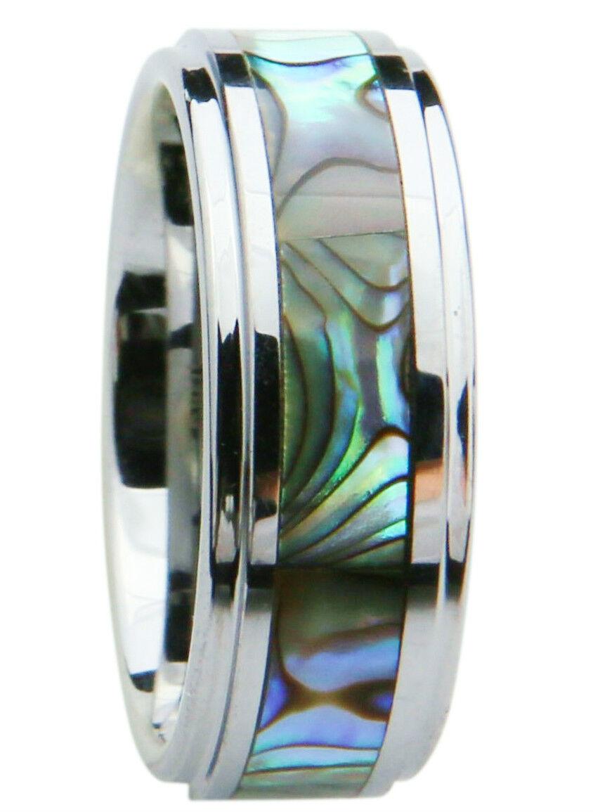 Men's Tungsten Carbide Wedding Ring Band 8mm Green Abalon...