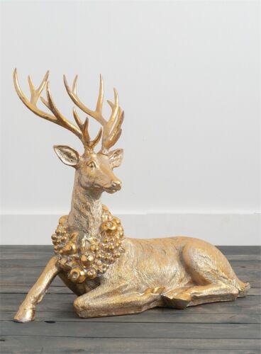 Gold Reindeer Figurine Deer Statue