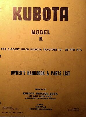 Kubota B6000 Diesel 4x4 Farm Tractor K Tiller Implement Owner Parts Manual