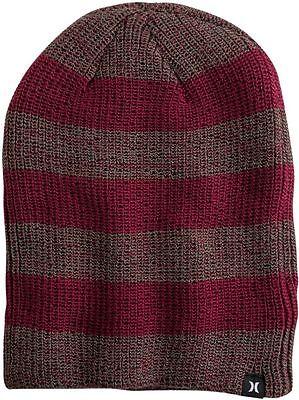 Hurley Twin Finner Beanie Knit Hat Cap Surf Maroon Crimson Red Stripes Ski Board - Crimson Knit Beanie