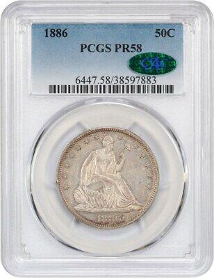1886 50c PCGS/CAC PR 58 - Liberty Seated Half Dollar - Looks Uncirculated!