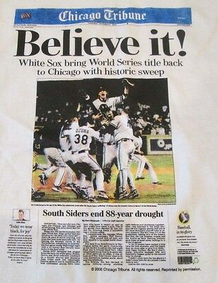 2005 White Sox World Series Believe It Tribune Headlines T Shirts Lg October 27