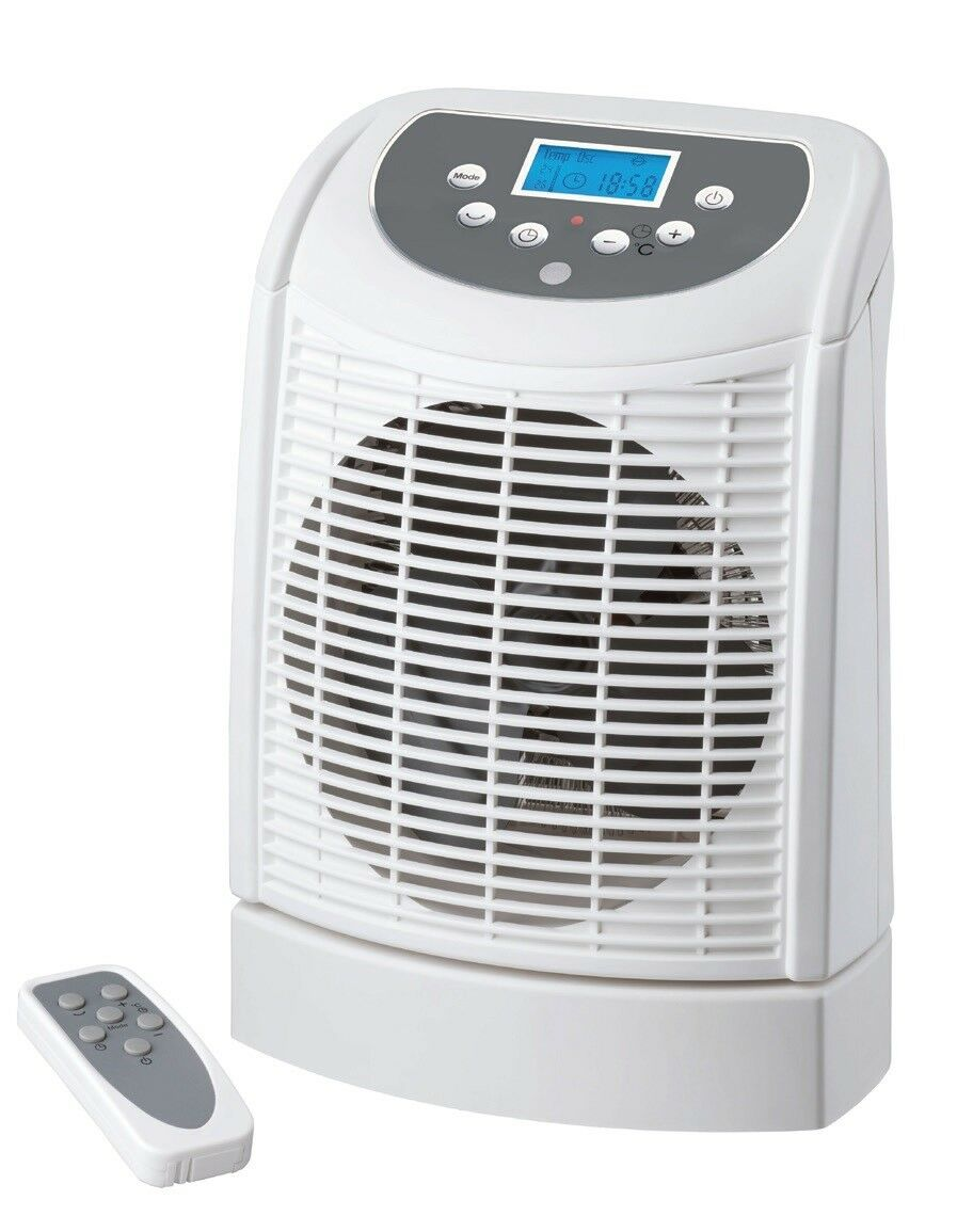 Electric Fan Hot Heater Portable Oscillating Base With Remote Control Ebay