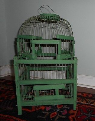 Old Antique Vintage Wood Wire Folk Art Bird Cage Original Green Paint French