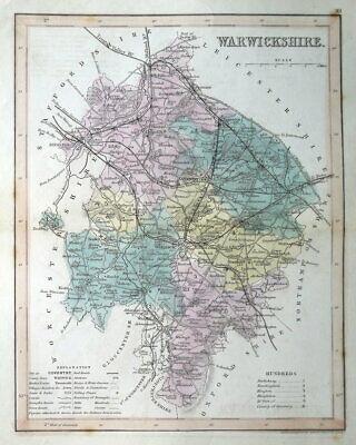 WARWICKSHIRE, J.Archer Original Antique County Map c1845