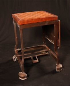 Antique Rolling Chess Table w/ Side Table and Locking System