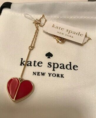Kate Spade New York Women's Linear Factory Red Heart Pendant Heart Necklace new