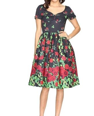 unique Vintage border print cotton sleeved fit and flare dress Women's size 6