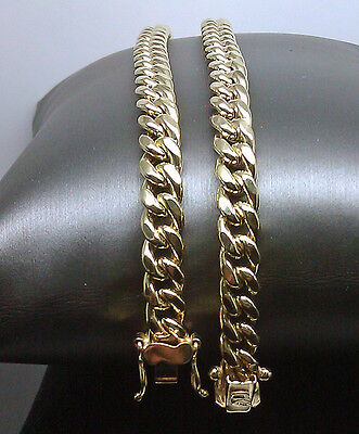 10k Yellow Gold Men's 8.5 mm Real Miami Cuban Chain Necklace Box Lock 22  inch  2