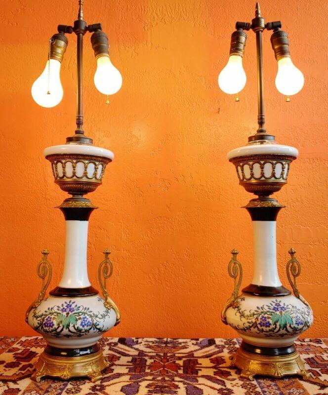 PAIR antique french Old Paris porcelain & Bronze floral hand paint gilded Lamps