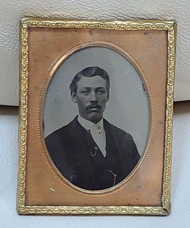 Antique Picture Frame tin type daguerreotype portrait Civil War era photo Man
