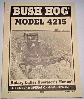 Bush Hog 4215 Rotary Mower Cutter Operators Owners Manual