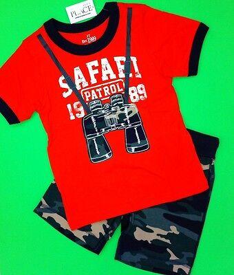 NEW! Baby Boys 2 Pc Outfit Set Safari Binoculars Graphic Shirt Shorts 3T - Baby Safari Outfit