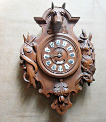Antique Black forest wood carved hunting trophy clock fish rabbit dog 1900