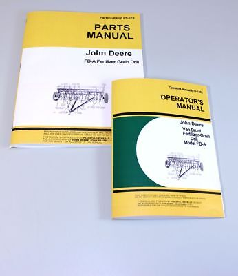 Operators Parts Manuals For John Deere Van Brunt Fb168a Fba Grain Drill Catalog