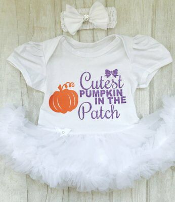 Cutest Baby Halloween Costume (BABY GIRLS Cutest PUMPKIN White Tutu Romper HALLOWEEN Costume NEWBORN GIFT)