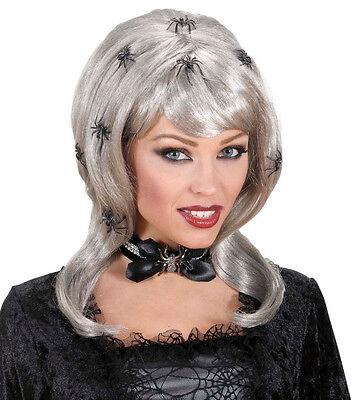 Halloween Perücke Spiderlady mit Spinnen Hexe Vampir Zauberin, Langhaar grau ()