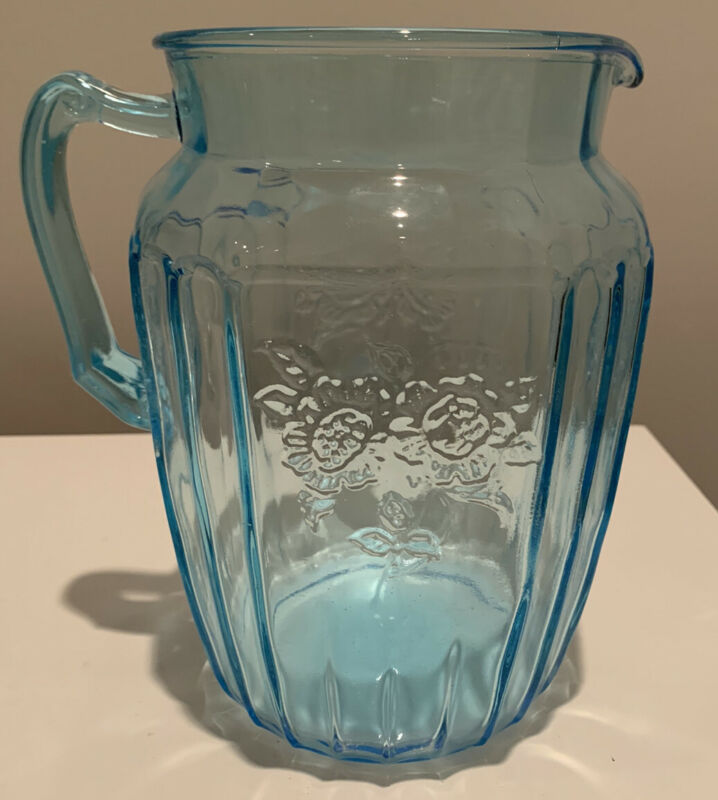 RARE Vtg Blue Mayfair 80oz Large Pitcher Hocking Depression Glass, Small Scratch