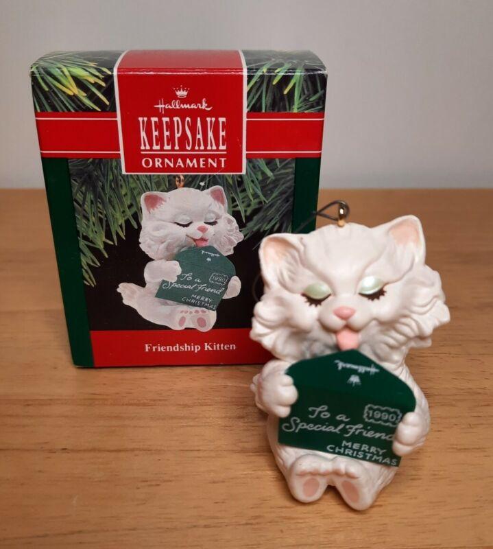 Hallmark Friendship Kitten Keepsake Ornament White Cat Christmas Ornament Vtg