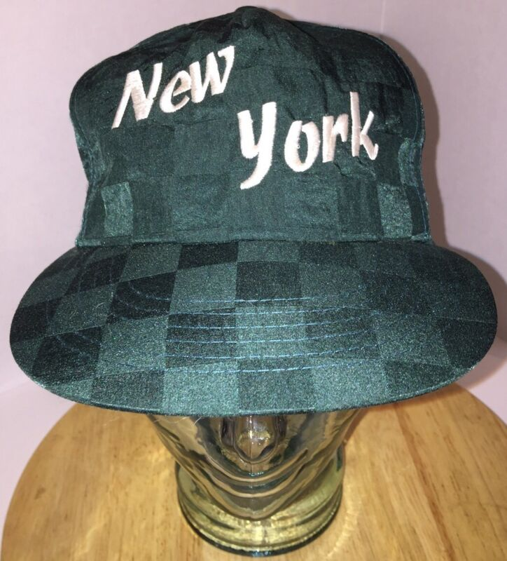 VTG NEW YORK Script Checkered Print Nylon Hat Cap Snapback Hip-Hop Rap Hipster