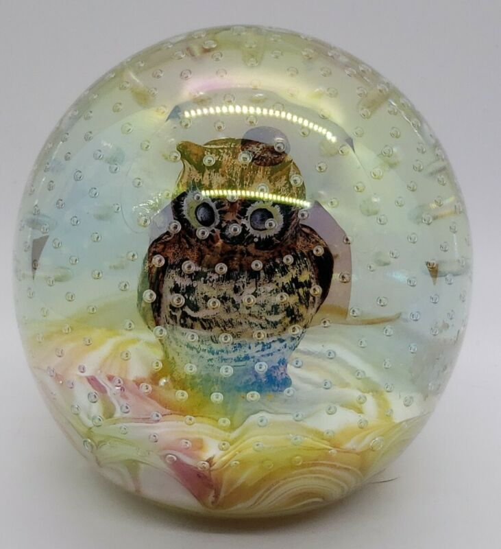vintage Joe St. Clair iridescent Paperweight OWL with bubbles signed Nonie