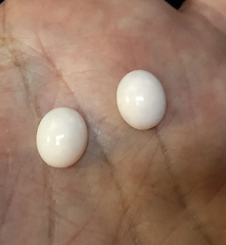 Pair of Genuine Angel Skin Coral Oval Cabochons 10mm Unset