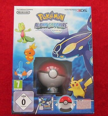 Pokemon Alpha Saphir Edition mit Pokeball + Poster, 3D Nintendo 3DS Spiel, Neu (Pokemon Mit Pokeball)