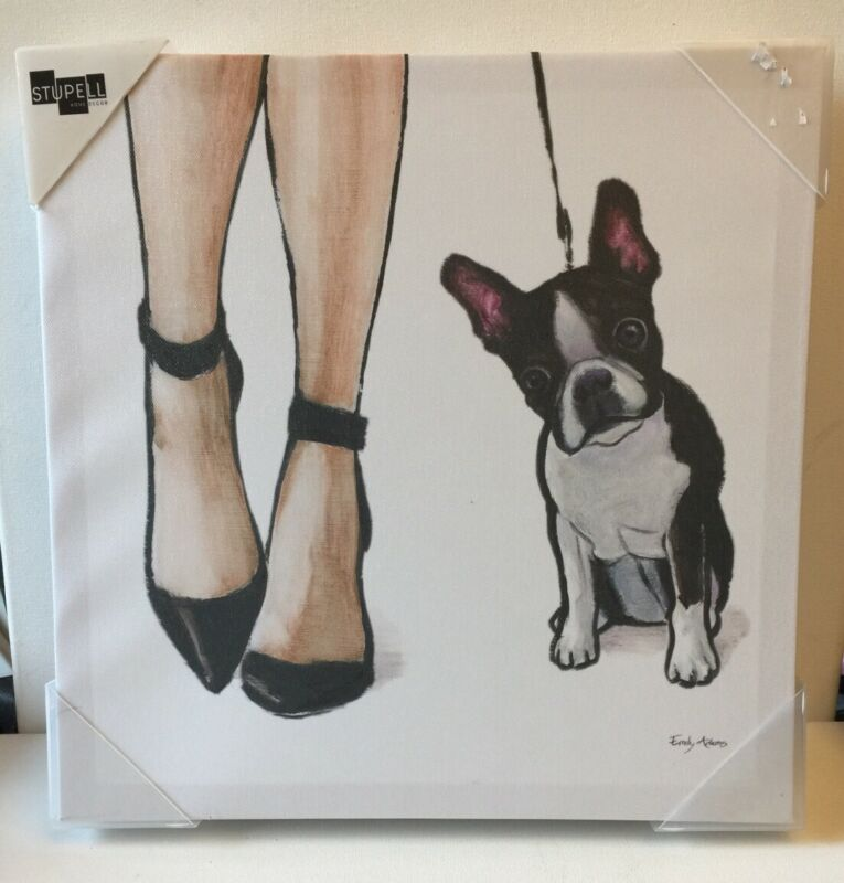 Boston Terrier Canvas Painting Ready To Hang