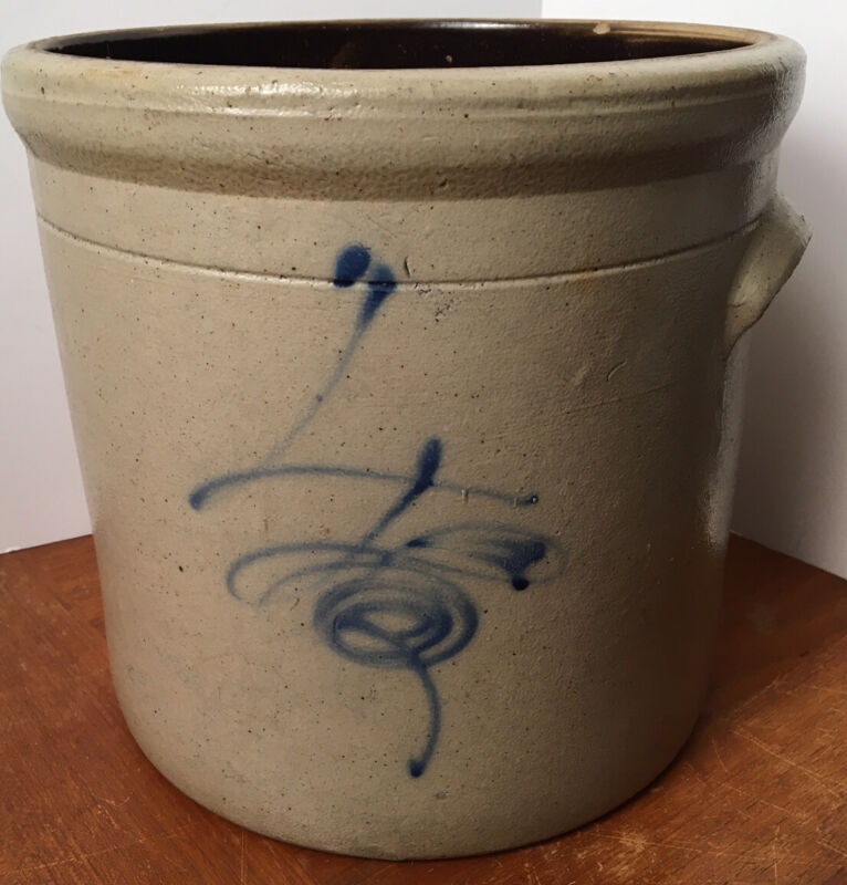 Antique 4 Gallon Salt Glaze Stoneware Crock With Bee Sting and Handles