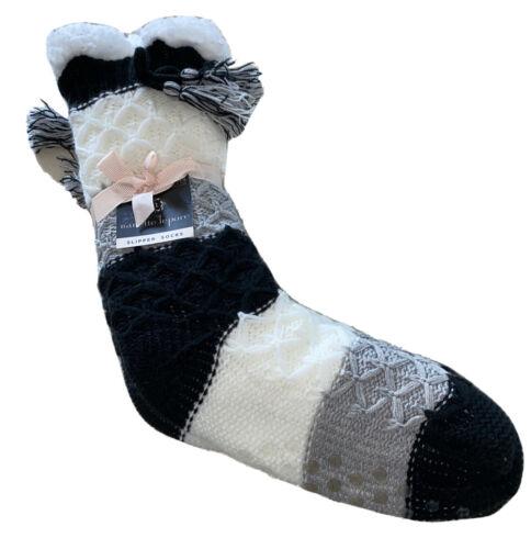 nanette lepore slipper socks black white grey