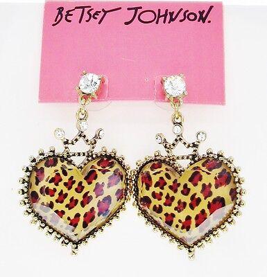 (Betsey Johnson LOVELY LEOPARD Large Crown Heart Drop Gold-Tone Stud Earrings NEW)
