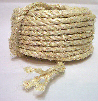 "10 Feet 100% NATURAL UNOILED 1/4"" SISAL ROPE Bird Parrot Toy Parts Craft Pet NEW"