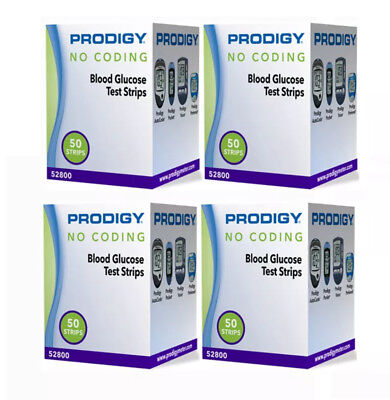 Prodigy Diabetic Test Strips 200 Ct in 4 Boxes Exp 2019+ Freaky Fast Shipping
