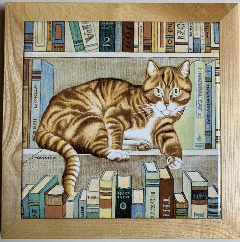 Cat Perching Book Shelf Lowell Herrero Signed - NIB Sealed - FAST PRIORITY