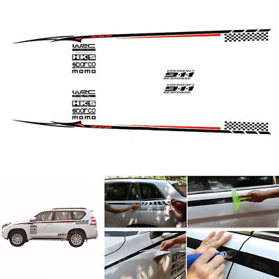 1 Pair Fashion Racing Car Side Body Decor Stickers Vinyl Decal Easy To Install