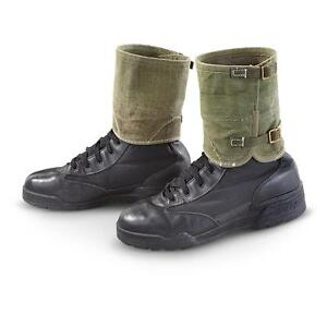 Czech-Army-Canvas-and-Leather-Gaiters-with-solid-Brass-buckles