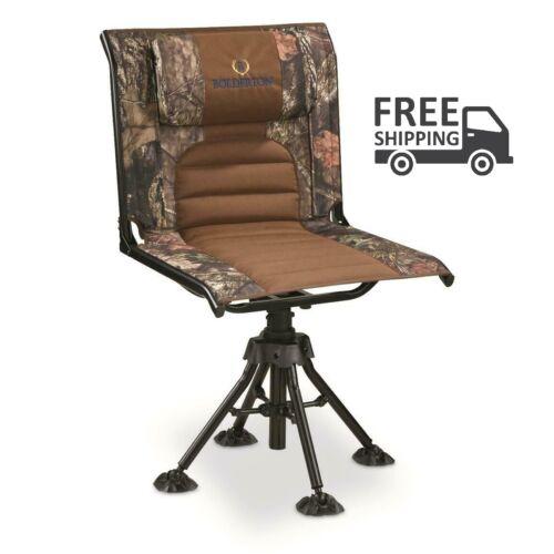 BOLDERTON 360 Swivel Camo Hunting Chair Mossy Oak Camp Trail Picnic BBQ Party