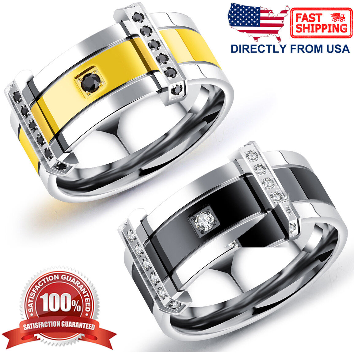 Men's Ring, Stainless Steel Cubic Zirconia 9mm Comfort Fit Wedding Band Jewelry & Watches