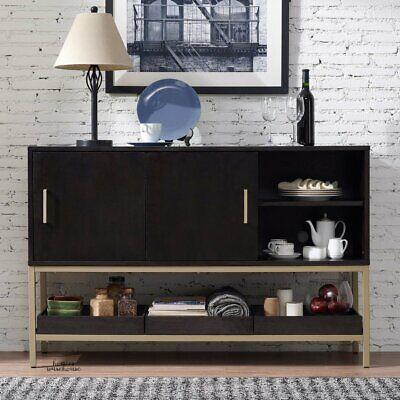 Modern Buffet Sideboard Dining Server Wood Sliding Cabinet Metal Shelf w/ Trays Modern Buffet Cabinet