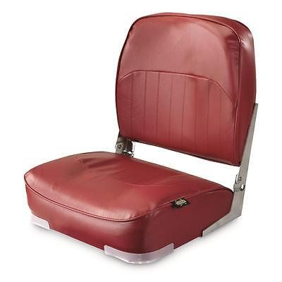 Folding Marine Boat Seat Low-Back for Pontoon Boating Bass Fishing Foldable, Red