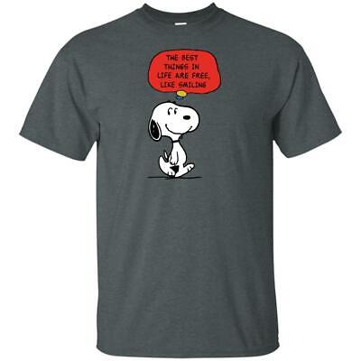 Peanuts Snoopy Dog Funny Best Things In Life Are Free BLACK Grey UNISEX T