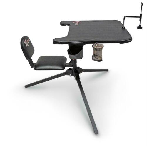 Portable Shooting Bench Rest 360 Swivel Seat Table Top Stand Range Site 300-lb