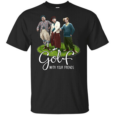 The Three Stooges Golf With Your Friends T-Shirt Funny Black Cotton Tee Gift Men
