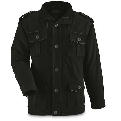 NEW GUIDE GEAR Men's Wool Blend Military Style Jacket Black Medium (Men's Style Guide)