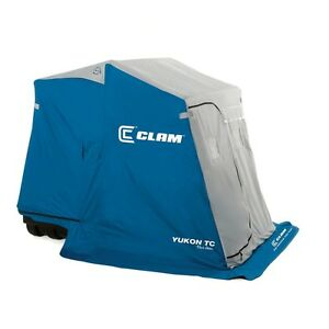 Good condition clam Yukon TC 2 man ice fishing shelter
