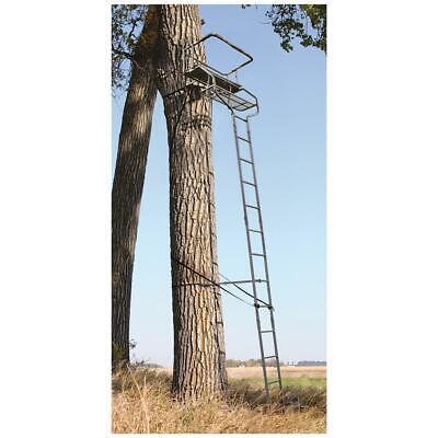 18' 2 Person Ladder Tree Stand Bench Seat Gun Deer Hunting Two Man Rail -