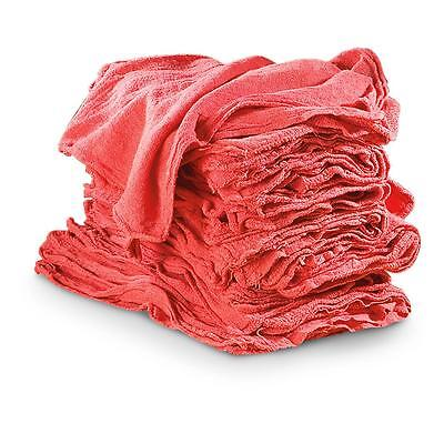 "50  SHOP RAGS TOWELS RED LARGE 14""x13"" COMMERCIAL INDUSTRIAL CLEANING TOWELS"