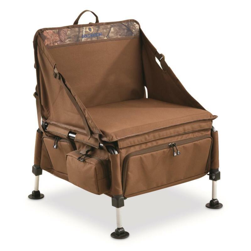 Elite Sportsmans Hunting Chair Foldable Portable Stool Storage 4 Gear Pockets